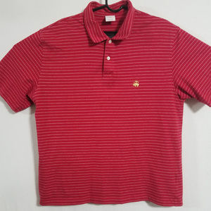 Brooks Brothers Mens Large Red Striped Polo Shirt